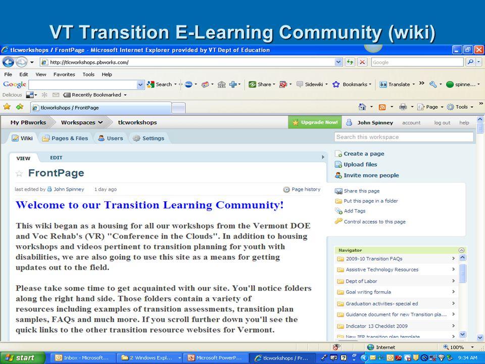 VT Transition E-Learning Community (wiki)