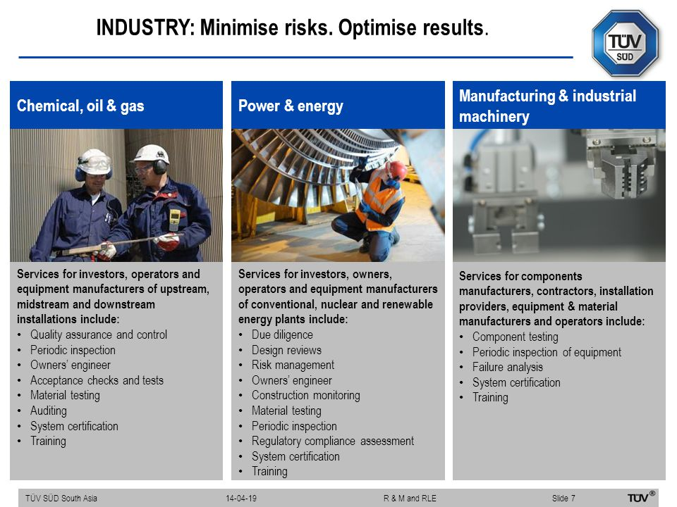 INDUSTRY: Minimise risks. Optimise results. Chemical, oil & gas Services for investors, operators and equipment manufacturers of upstream, midstream a