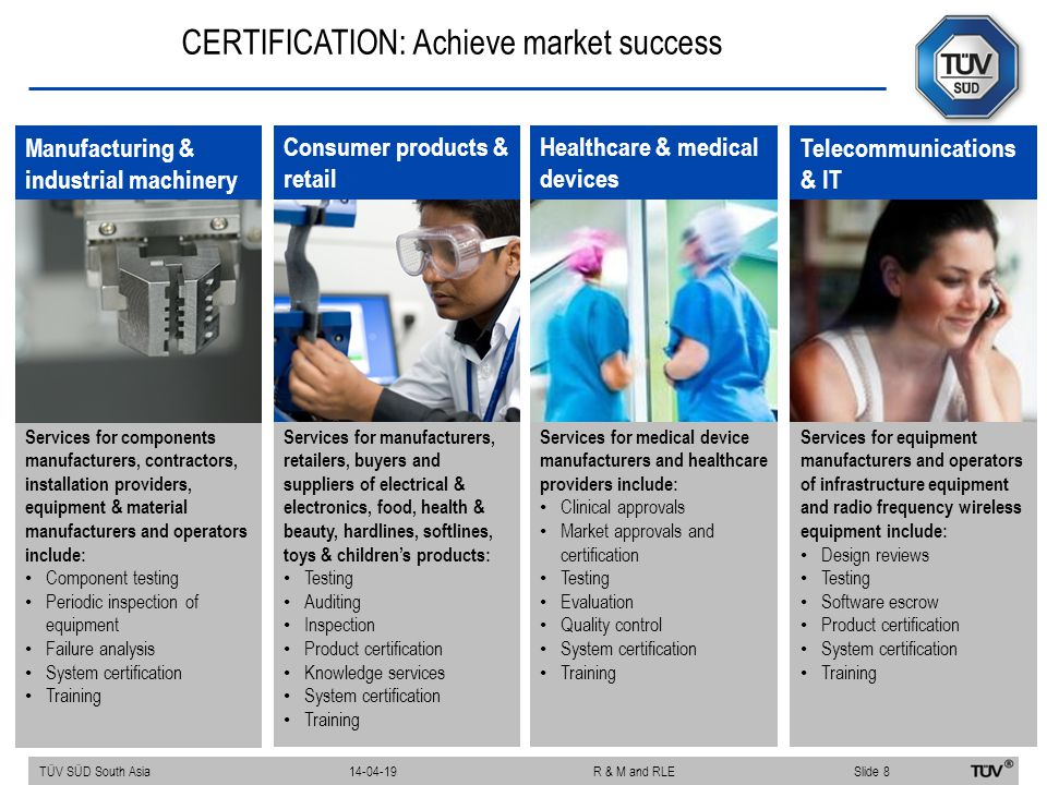 CERTIFICATION: Achieve market success Services for components manufacturers, contractors, installation providers, equipment & material manufacturers a