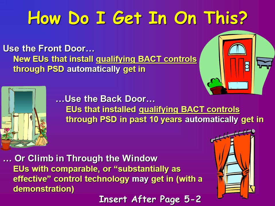 How Do I Get In On This? Use the Front Door… New EUs that install qualifying BACT controls through PSD automatically get in …Use the Back Door… EUs th