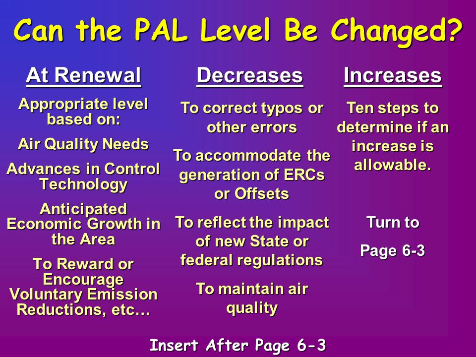 Can the PAL Level Be Changed? Appropriate level based on: Air Quality Needs Advances in Control Technology Anticipated Economic Growth in the Area To