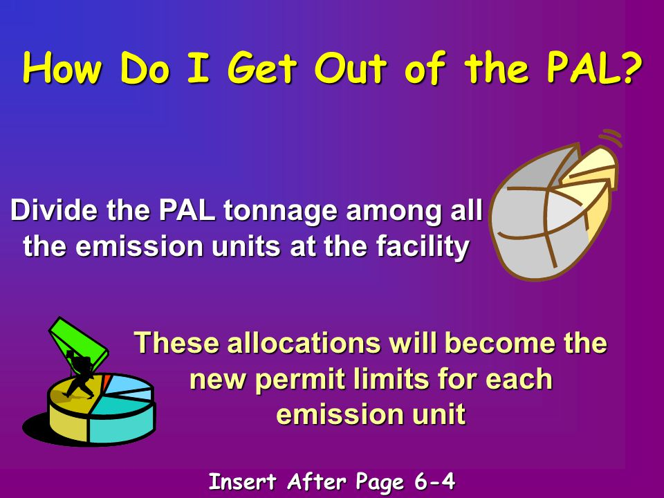 How Do I Get Out of the PAL? Divide the PAL tonnage among all the emission units at the facility These allocations will become the new permit limits f