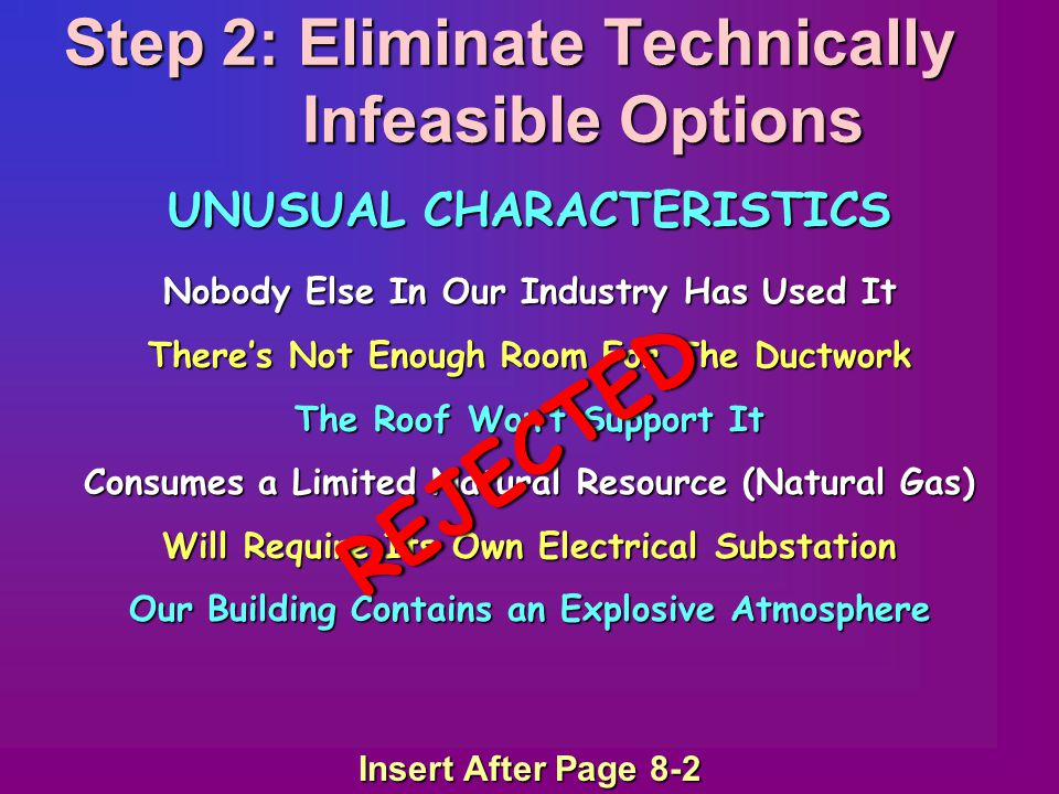 Step 2: Eliminate Technically Infeasible Options Nobody Else In Our Industry Has Used It There's Not Enough Room For The Ductwork The Roof Won't Suppo