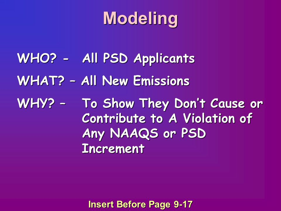 Modeling WHO? -All PSD Applicants WHAT? – All New Emissions WHY? –To Show They Don't Cause or Contribute to A Violation of Any NAAQS or PSD Increment