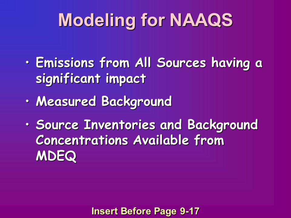 Emissions from All Sources having a significant impactEmissions from All Sources having a significant impact Measured BackgroundMeasured Background Source Inventories and Background Concentrations Available from MDEQSource Inventories and Background Concentrations Available from MDEQ Insert Before Page 9-17 Modeling for NAAQS
