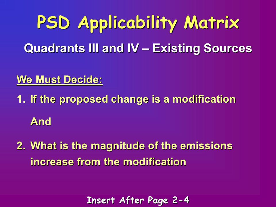 PSD Applicability Matrix Quadrants III and IV – Existing Sources We Must Decide: 1.If the proposed change is a modification And 2.What is the magnitud