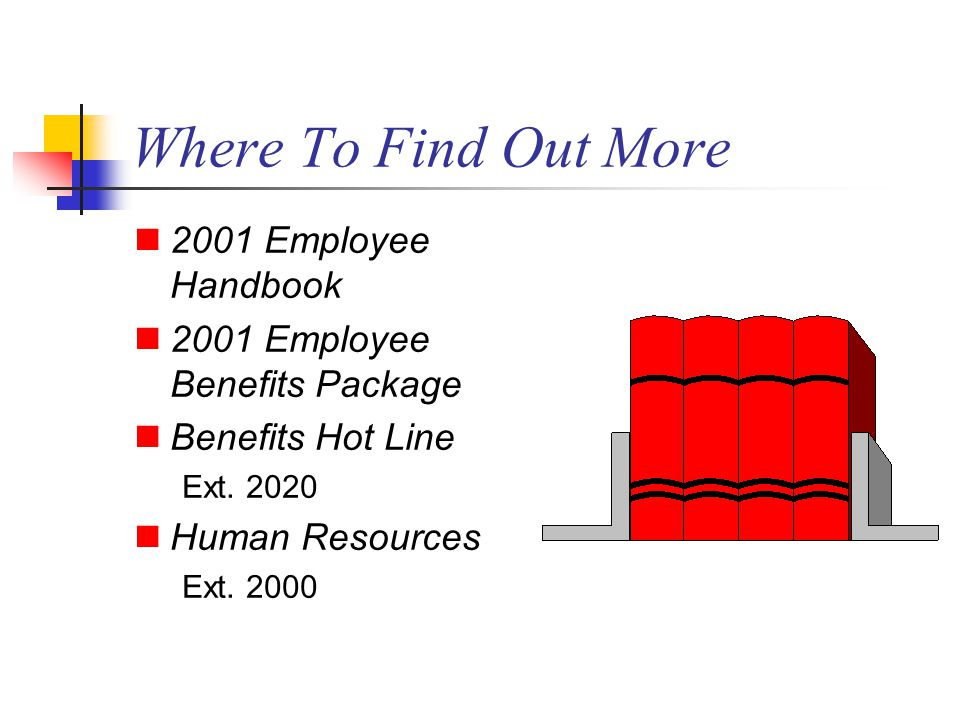 Where To Find Out More 2001 Employee Handbook 2001 Employee Benefits Package Benefits Hot Line Ext.