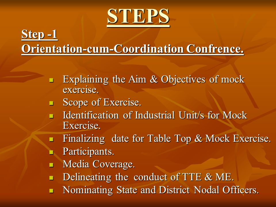 STEPS Step -1 Orientation-cum-Coordination Confrence.