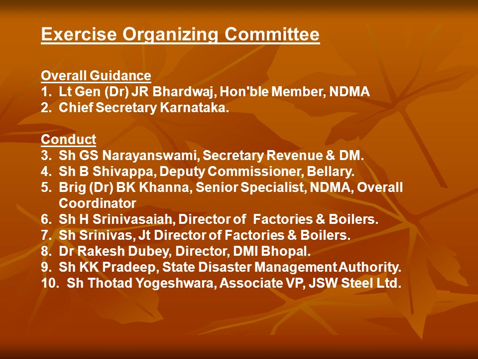 Exercise Organizing Committee Overall Guidance 1.Lt Gen (Dr) JR Bhardwaj, Hon ble Member, NDMA 2.Chief Secretary Karnataka.