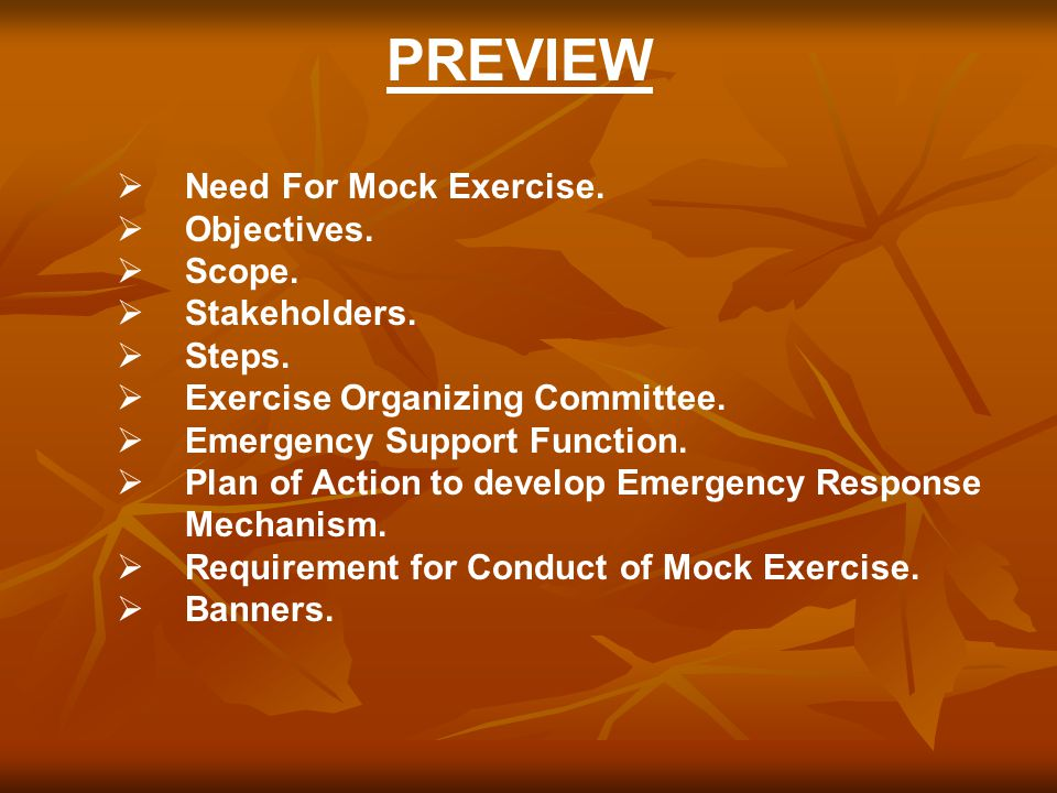 PREVIEW  Need For Mock Exercise.  Objectives.  Scope.