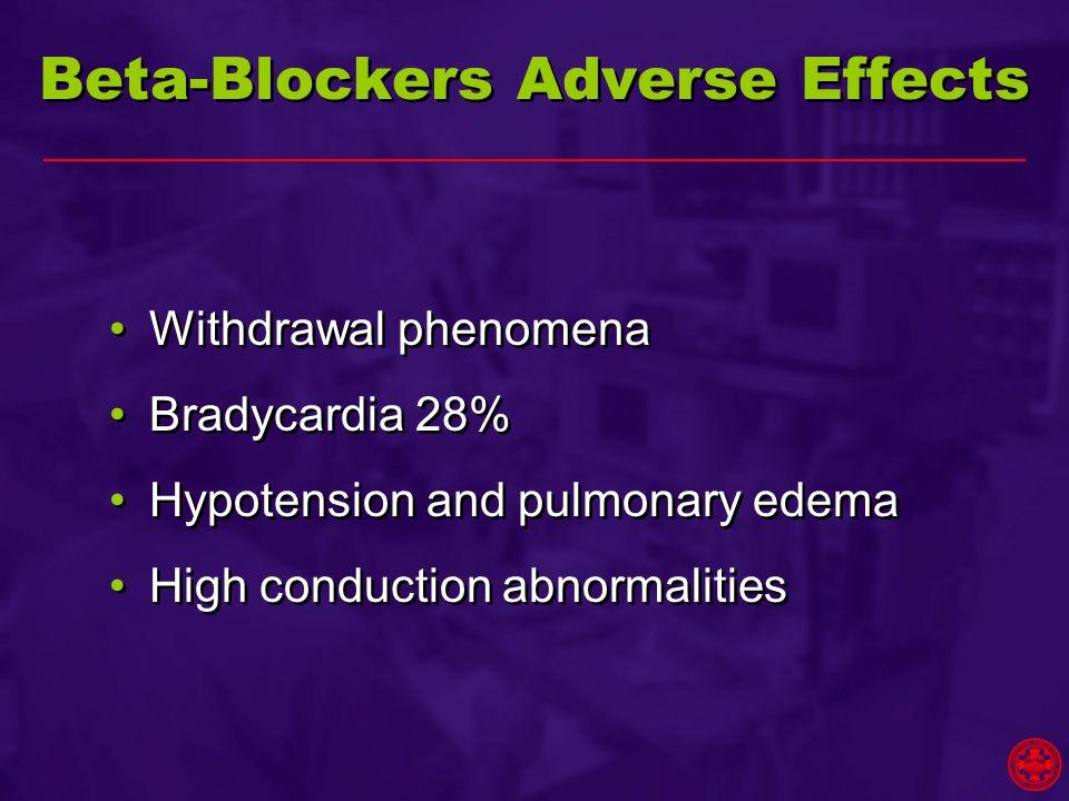 Beta-Blockers Adverse Effects Withdrawal phenomena Bradycardia 28% Hypotension and pulmonary edema High conduction abnormalities Withdrawal phenomena Bradycardia 28% Hypotension and pulmonary edema High conduction abnormalities