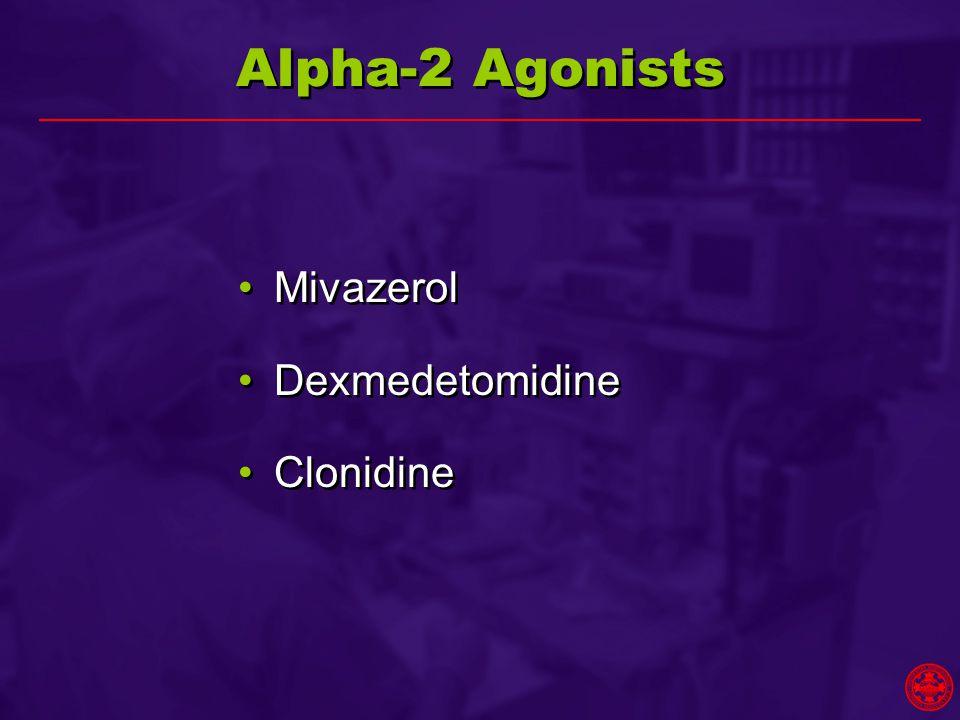 Alpha-2 Agonists Mivazerol Dexmedetomidine Clonidine Mivazerol Dexmedetomidine Clonidine