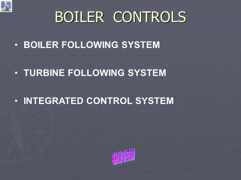BOILER CONTROLS BOILER FOLLOWING SYSTEM TURBINE FOLLOWING SYSTEM INTEGRATED CONTROL SYSTEM