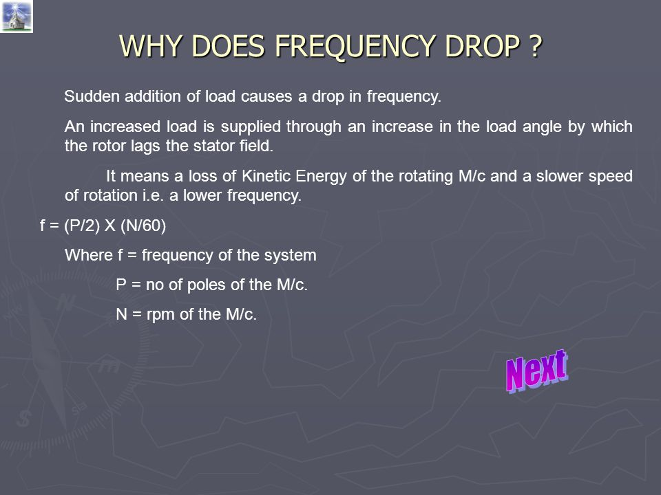 WHY DOES FREQUENCY DROP ? Sudden addition of load causes a drop in frequency. An increased load is supplied through an increase in the load angle by w