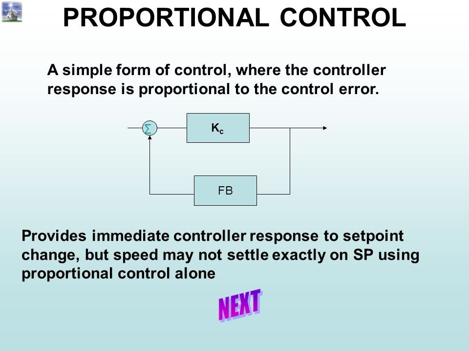 KcKc ∑ FB PROPORTIONAL CONTROL A simple form of control, where the controller response is proportional to the control error. Provides immediate contro