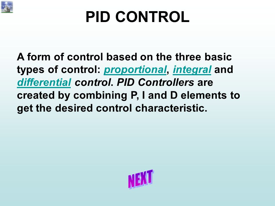 A form of control based on the three basic types of control: proportional, integral and differential control. PID Controllers are created by combining