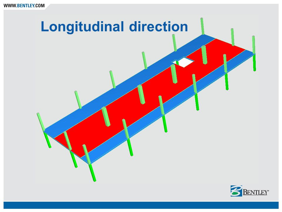 3-D finite element method Visual modeling / input Accuracy continuity effects (elastic reactions) load path complicated loads (including lateral) restraint effects torsion