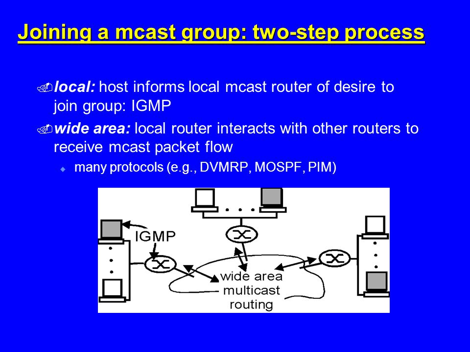 Joining a mcast group: two-step process  local: host informs local mcast router of desire to join group: IGMP  wide area: local router interacts with other routers to receive mcast packet flow  many protocols (e.g., DVMRP, MOSPF, PIM)