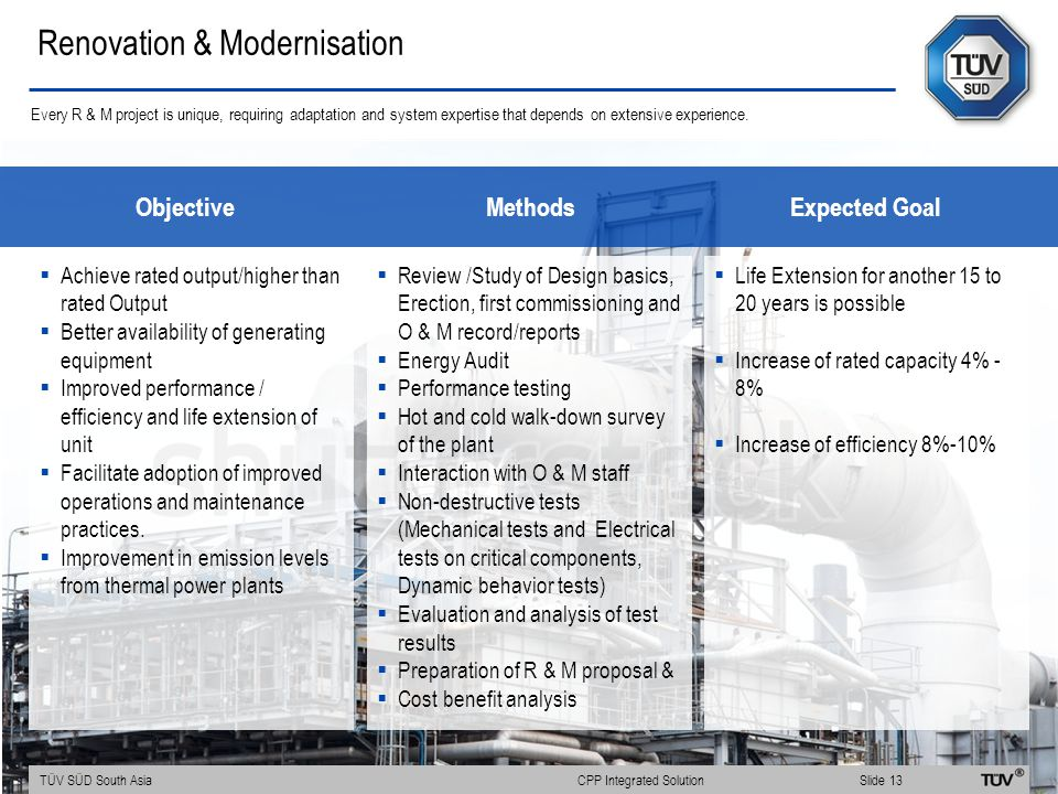  Achieve rated output/higher than rated Output  Better availability of generating equipment  Improved performance / efficiency and life extension of unit  Facilitate adoption of improved operations and maintenance practices.