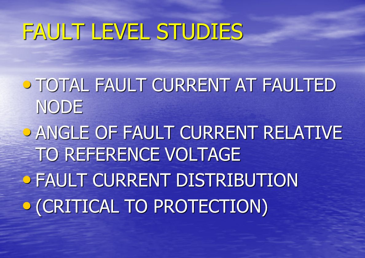 PS STUDY CONSIDERATIONS LOAD FLOWS LOAD FLOWS CURRENT FLOWS IN EACH BRANCH OF NETWORK CURRENT FLOWS IN EACH BRANCH OF NETWORK REAL & REACTIVE POWER FLOWS REAL & REACTIVE POWER FLOWS VOLTAGES AT EACH NODE VOLTAGES AT EACH NODE VOLTAGE BOOST AT CONTROL NODES VOLTAGE BOOST AT CONTROL NODES LOSSES LOSSES