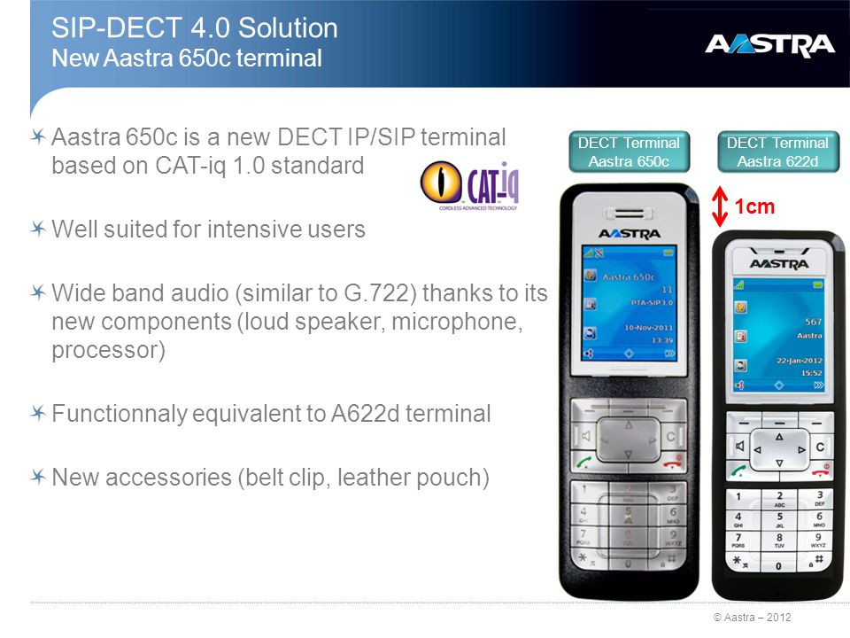 © Aastra – 2012 SIP-DECT 4.0 Solution New Aastra 650c terminal Aastra 650c is a new DECT IP/SIP terminal based on CAT-iq 1.0 standard Well suited for intensive users Wide band audio (similar to G.722) thanks to its new components (loud speaker, microphone, processor) Functionnaly equivalent to A622d terminal New accessories (belt clip, leather pouch) DECT Terminal Aastra 650c DECT Terminal Aastra 622d 1cm