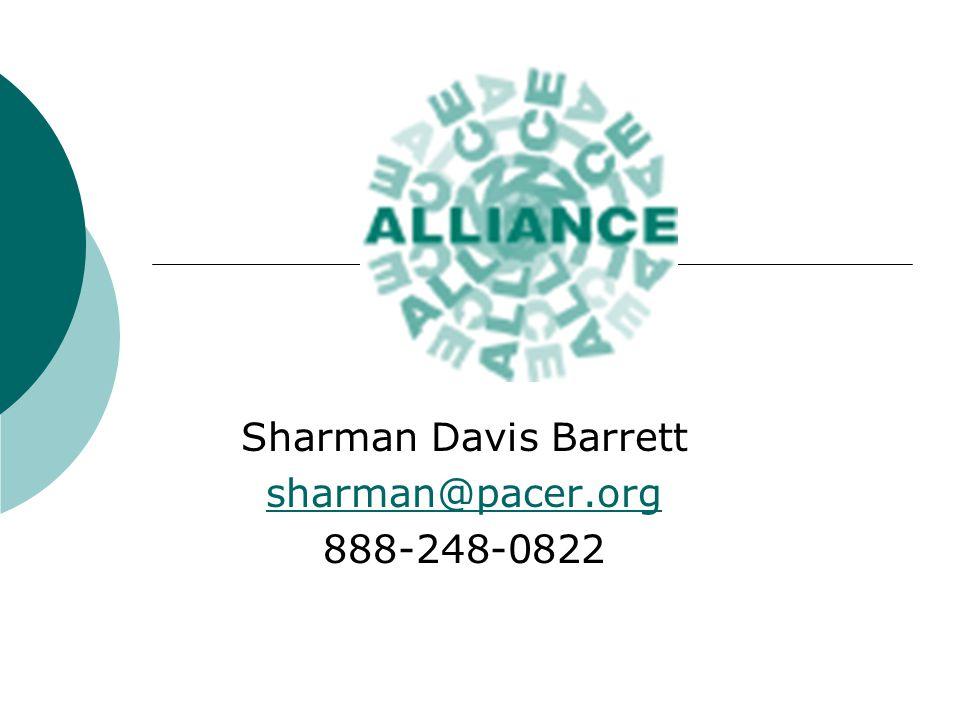 Sharman Davis Barrett sharman@pacer.org 888-248-0822