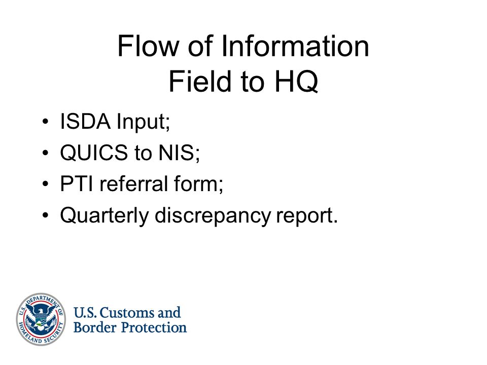 Flow of Information Field to HQ ISDA Input; QUICS to NIS; PTI referral form; Quarterly discrepancy report.