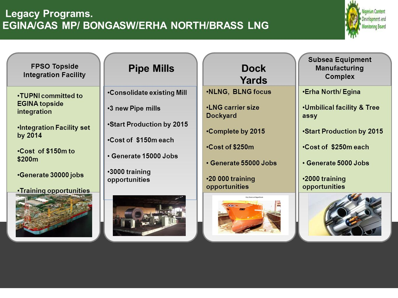 Consolidate existing Mill 3 new Pipe mills Start Production by 2015 Cost of $150m each Generate 15000 Jobs 3000 training opportunities NLNG, BLNG focu