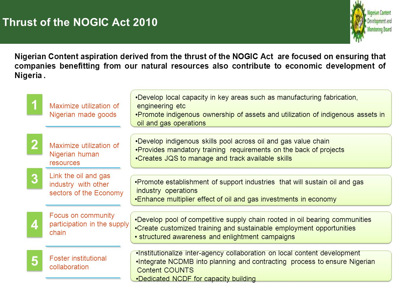Thrust of the NOGIC Act 2010 Nigerian Content aspiration derived from the thrust of the NOGIC Act are focused on ensuring that companies benefitting f