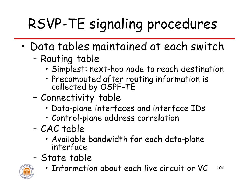 100 RSVP-TE signaling procedures Data tables maintained at each switch –Routing table Simplest: next-hop node to reach destination Precomputed after routing information is collected by OSPF-TE –Connectivity table Data-plane interfaces and interface IDs Control-plane address correlation –CAC table Available bandwidth for each data-plane interface –State table Information about each live circuit or VC