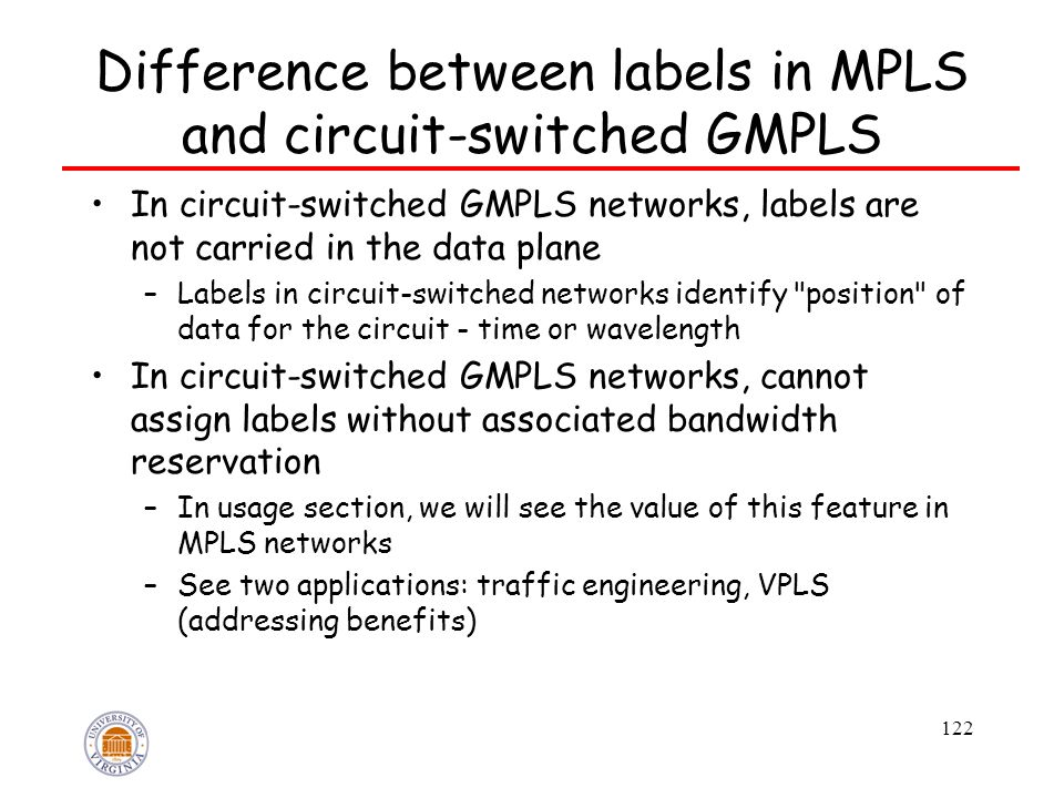 122 Difference between labels in MPLS and circuit-switched GMPLS In circuit-switched GMPLS networks, labels are not carried in the data plane –Labels