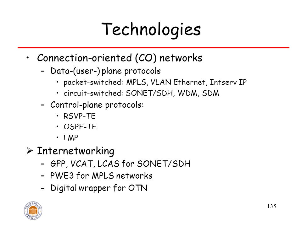 135 Technologies Connection-oriented (CO) networks –Data-(user-) plane protocols packet-switched: MPLS, VLAN Ethernet, Intserv IP circuit-switched: SONET/SDH, WDM, SDM –Control-plane protocols: RSVP-TE OSPF-TE LMP  Internetworking –GFP, VCAT, LCAS for SONET/SDH –PWE3 for MPLS networks –Digital wrapper for OTN