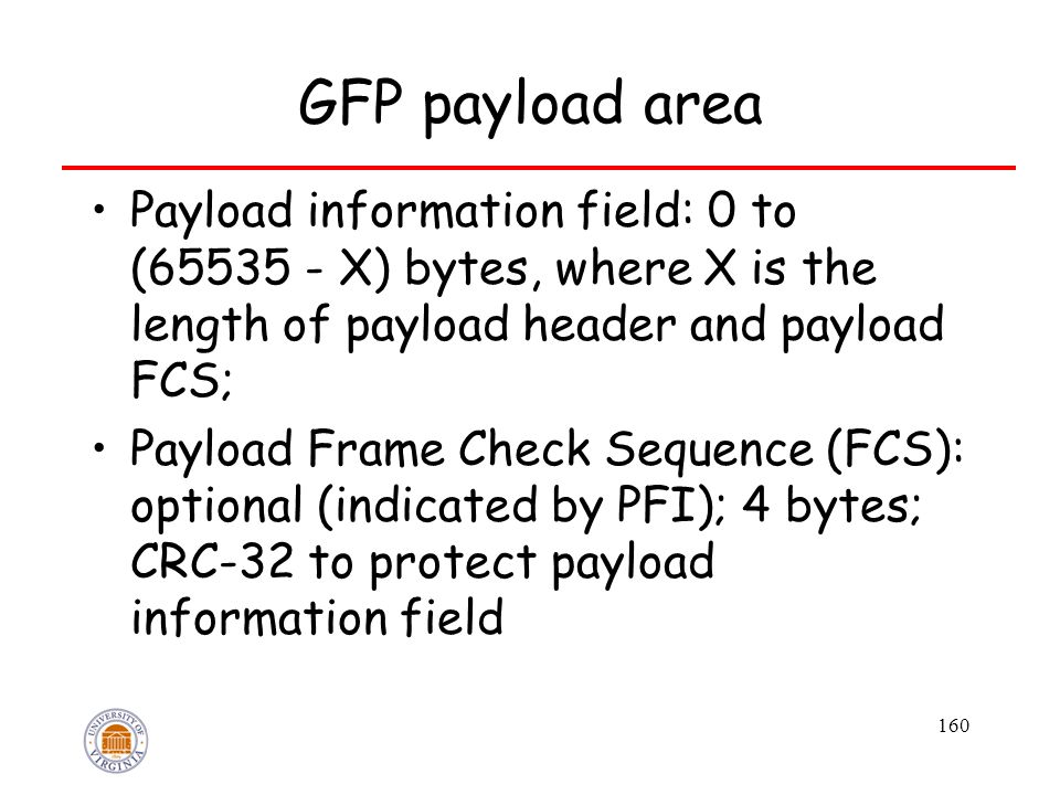 160 GFP payload area Payload information field: 0 to (65535 - X) bytes, where X is the length of payload header and payload FCS; Payload Frame Check Sequence (FCS): optional (indicated by PFI); 4 bytes; CRC-32 to protect payload information field