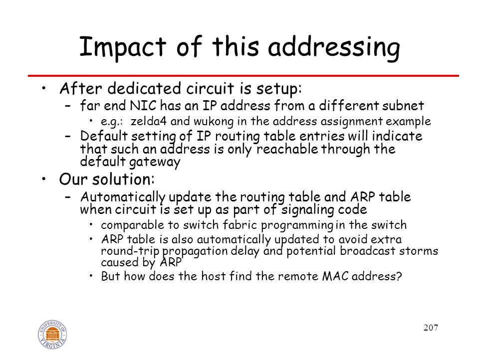 207 Impact of this addressing After dedicated circuit is setup: –far end NIC has an IP address from a different subnet e.g.: zelda4 and wukong in the