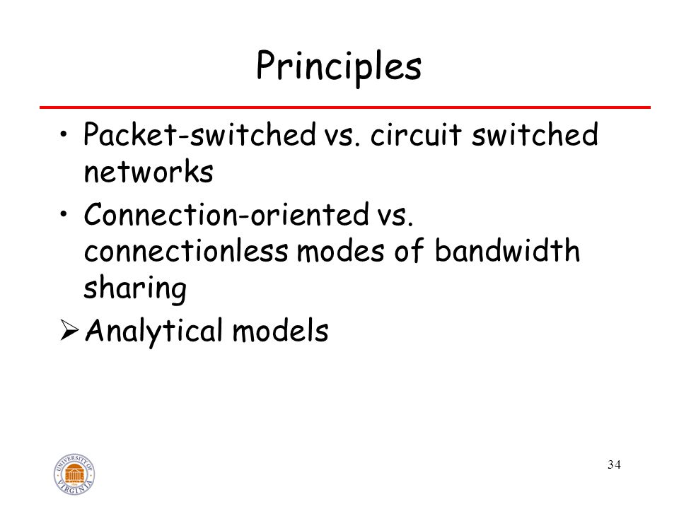 34 Principles Packet-switched vs. circuit switched networks Connection-oriented vs. connectionless modes of bandwidth sharing  Analytical models