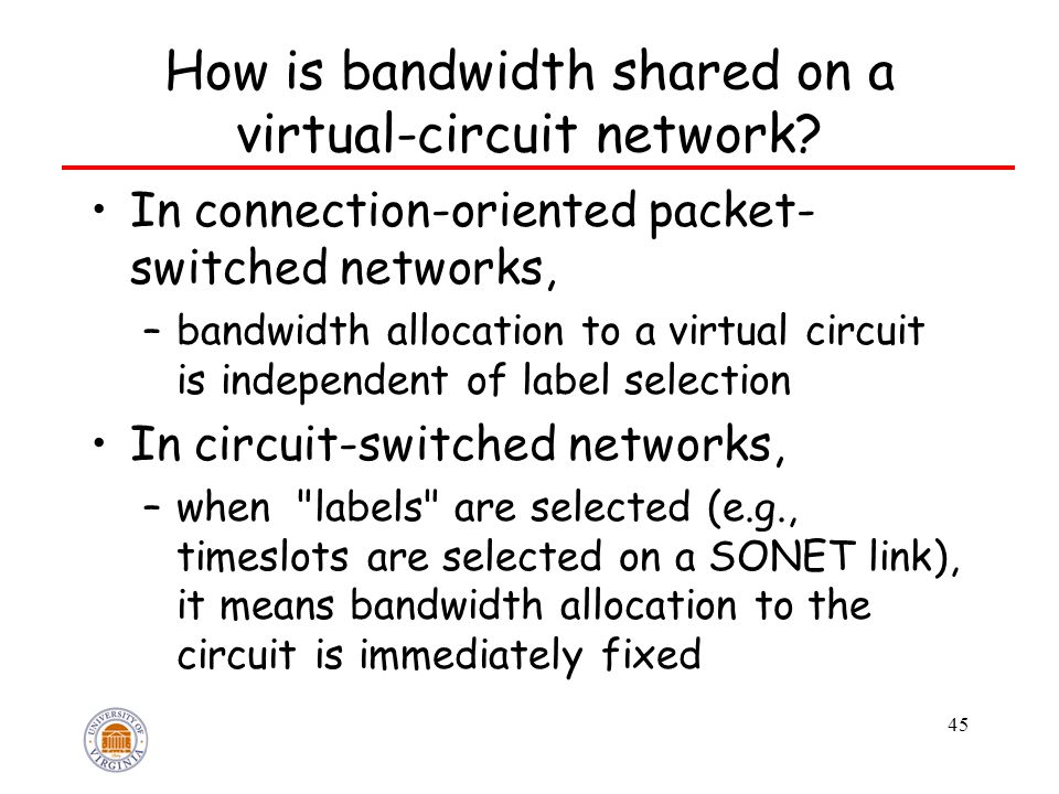 45 How is bandwidth shared on a virtual-circuit network? In connection-oriented packet- switched networks, –bandwidth allocation to a virtual circuit