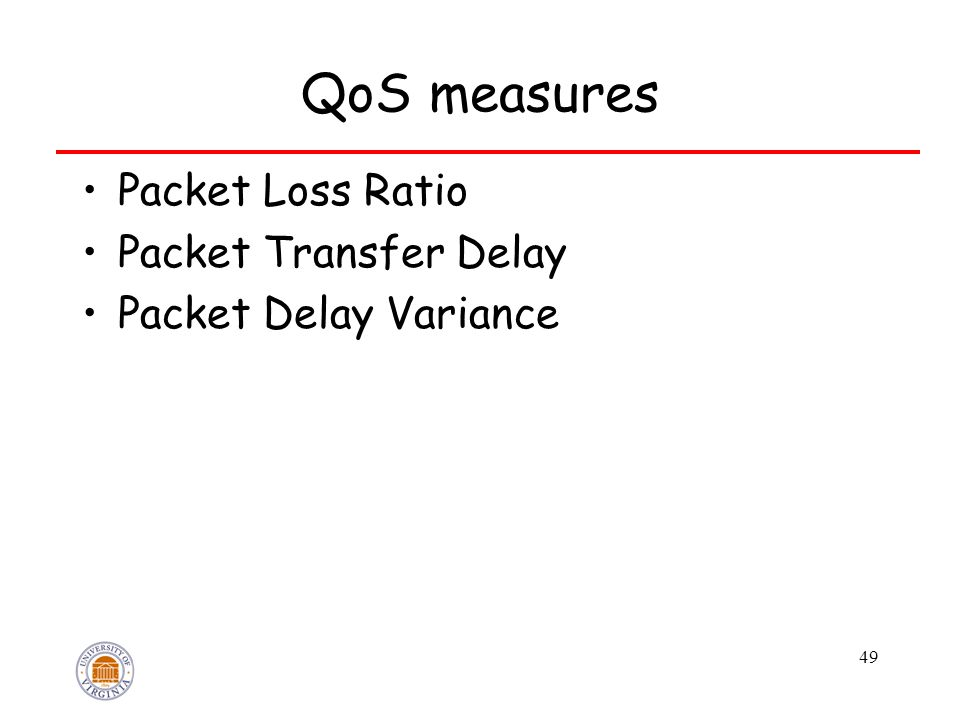 49 QoS measures Packet Loss Ratio Packet Transfer Delay Packet Delay Variance