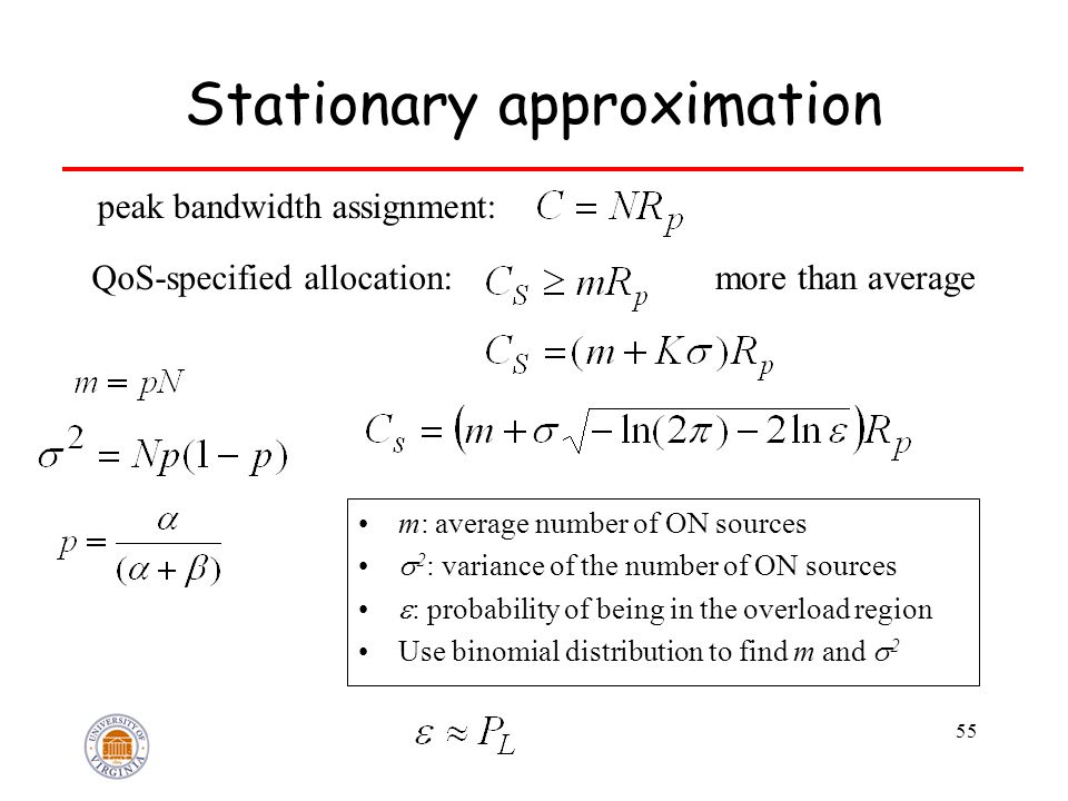 55 Stationary approximation QoS-specified allocation: peak bandwidth assignment: more than average m: average number of ON sources  2 : variance of the number of ON sources  : probability of being in the overload region Use binomial distribution to find m and  2
