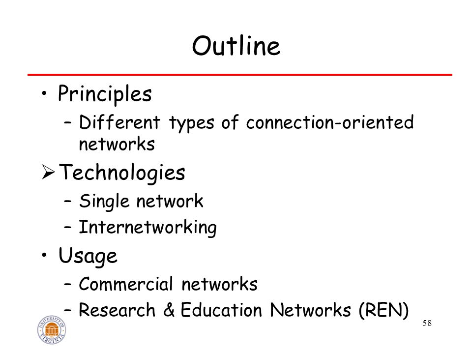 58 Outline Principles –Different types of connection-oriented networks  Technologies –Single network –Internetworking Usage –Commercial networks –Res
