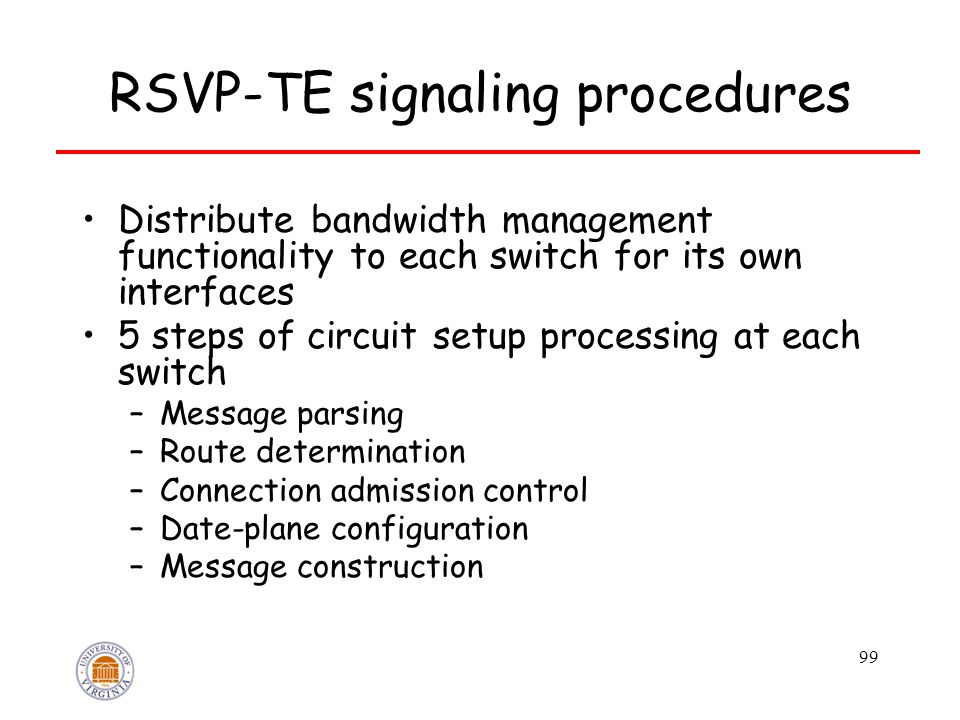99 RSVP-TE signaling procedures Distribute bandwidth management functionality to each switch for its own interfaces 5 steps of circuit setup processing at each switch –Message parsing –Route determination –Connection admission control –Date-plane configuration –Message construction