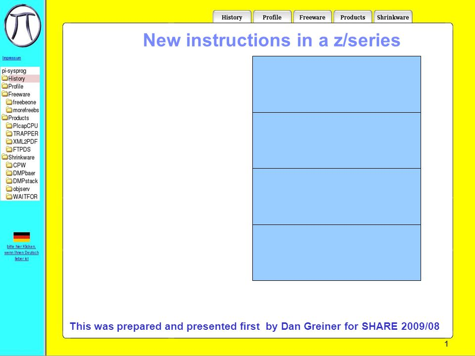 1 New instructions in a z/series Who is this:Martin Trübner from:Langen, Germany email:martin@pi-sysprog.de This presentation is available at:pi-sysprog.de/wavv10 This was prepared and presented first by Dan Greiner for SHARE 2009/08