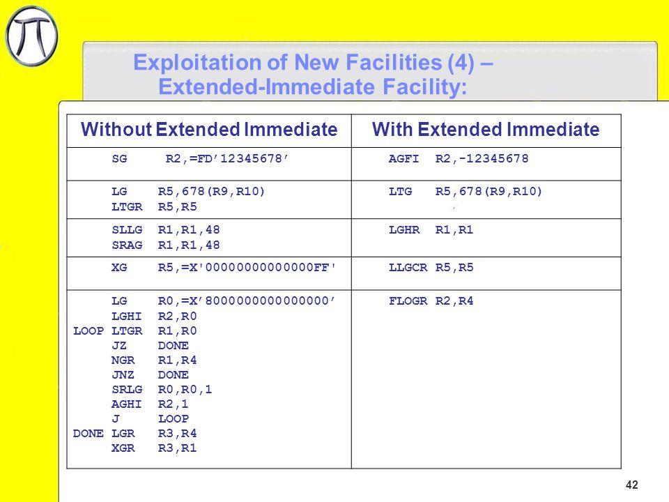 42 Exploitation of New Facilities (4) – Extended-Immediate Facility: Without Extended ImmediateWith Extended Immediate SG R2,=FD'12345678' AGFI R2,-12345678 LG R5,678(R9,R10) LTGR R5,R5 LTG R5,678(R9,R10) SLLG R1,R1,48 SRAG R1,R1,48 LGHR R1,R1 XG R5,=X 00000000000000FF LLGCR R5,R5 LG R0,=X'8000000000000000' LGHI R2,R0 LOOP LTGR R1,R0 JZ DONE NGR R1,R4 JNZ DONE SRLG R0,R0,1 AGHI R2,1 J LOOP DONE LGR R3,R4 XGR R3,R1 FLOGR R2,R4