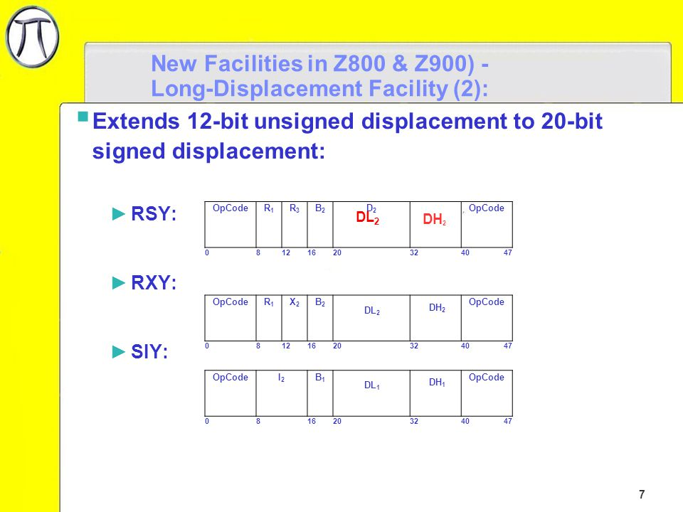 8 New Facilities in Z800 & Z900 - Long-Displacement Facility (3):  Operand displacement-low field (DL) concatenated with displacement-high field (DH) ►Forms 20-bit signed displacement ►Bit 32 of the instruction is the sign bit OpCodeR1R1 R3R3 B2B2 DL 2 DH 2 OpCode 081216203240 47 20-Bit Signed Displacement