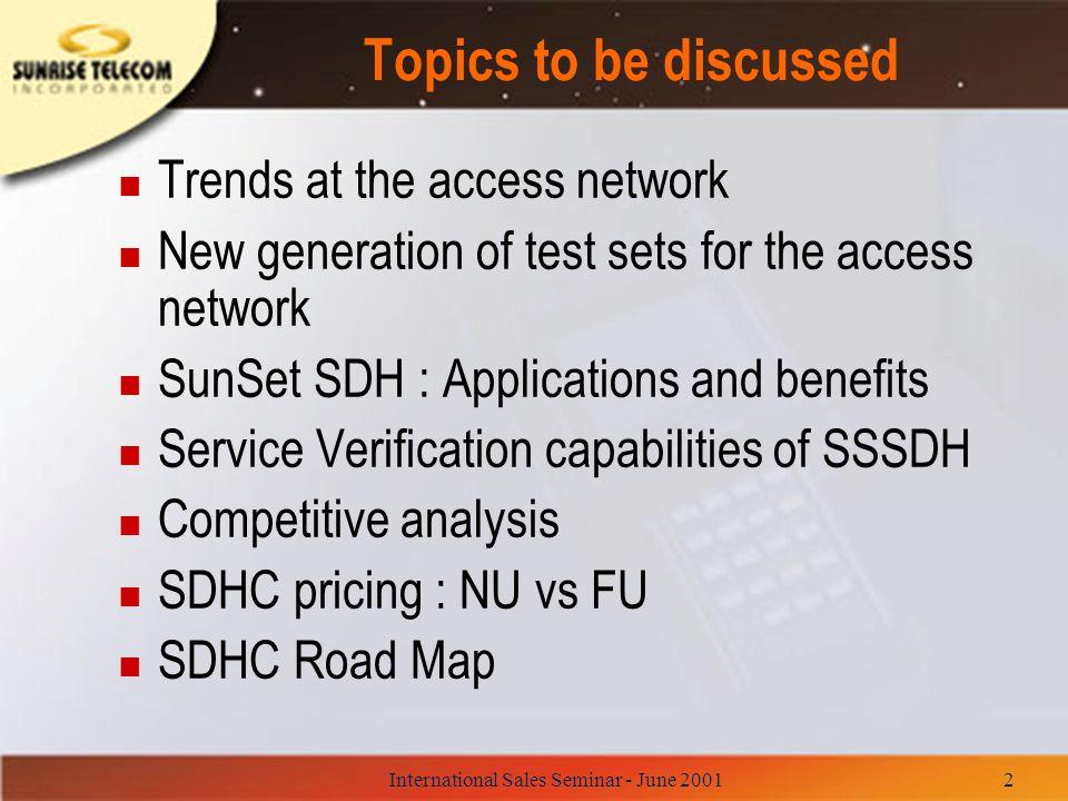 International Sales Seminar - June 200133 SSSDH vs ANT-5 n Advantages: –Graphical User Interface –Aggressive pricing.