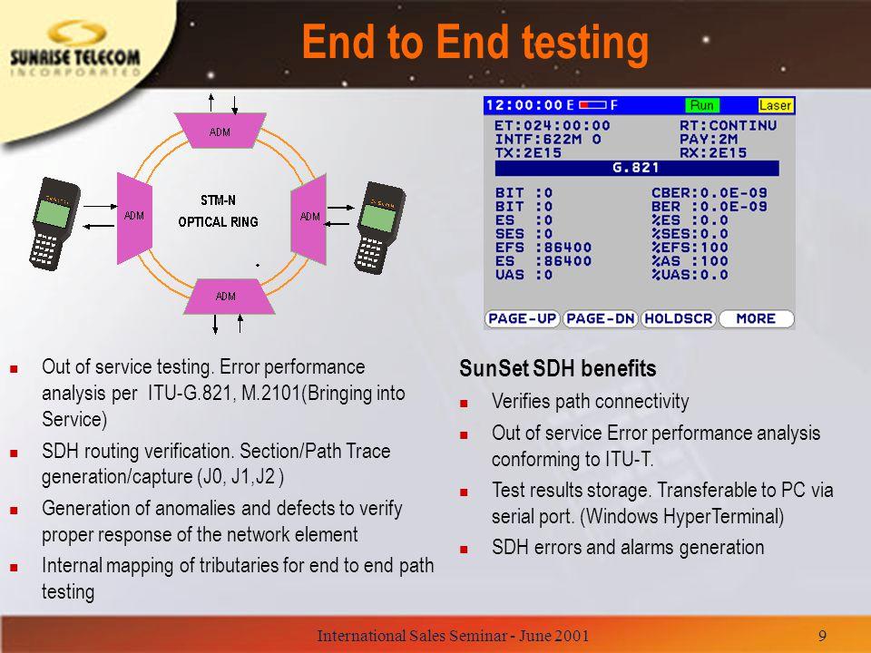 International Sales Seminar - June 200140 SunSet SDH vs N1610A/N1645A n Advantages –Modular platform, GUI, color screen –HP's worldwide reputation –Focused on installation of optical fiber n Disadvantages –Lacks of 139 Mbps.