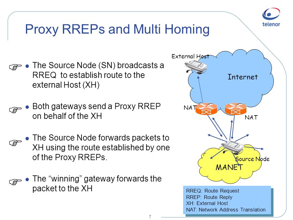 7 Proxy RREPs and Multi Homing l The Source Node (SN) broadcasts a RREQ to establish route to the external Host (XH) l Both gateways send a Proxy RREP on behalf of the XH l The Source Node forwards packets to XH using the route established by one of the Proxy RREPs.