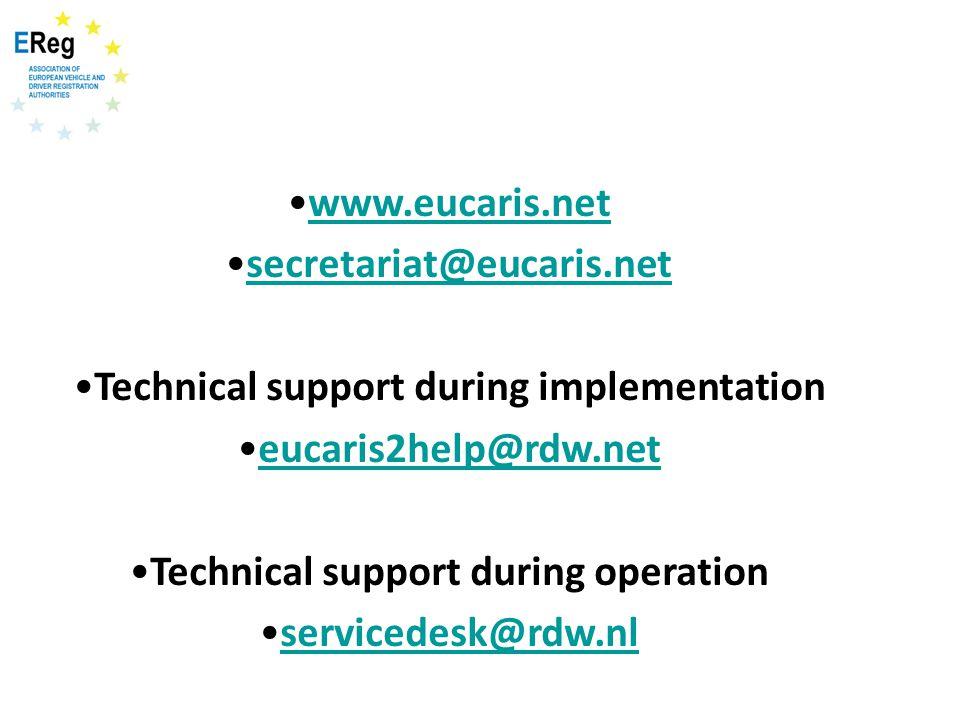www.eucaris.net secretariat@eucaris.net Technical support during implementation eucaris2help@rdw.net Technical support during operation servicedesk@rd
