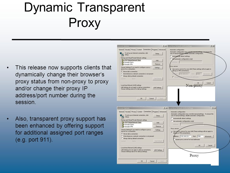 Dynamic Transparent Proxy This release now supports clients that dynamically change their browser's proxy status from non-proxy to proxy and/or change