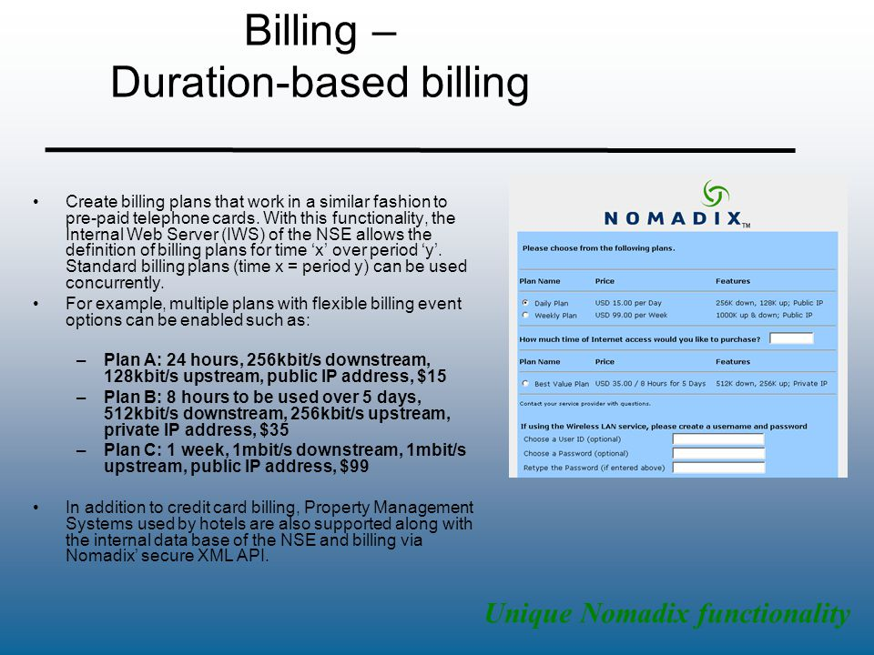 Billing – Duration-based billing Create billing plans that work in a similar fashion to pre-paid telephone cards. With this functionality, the Interna