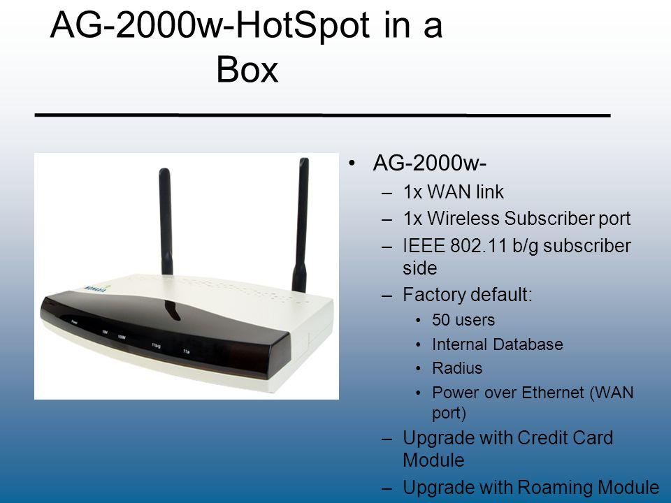 AG-2000w-HotSpot in a Box AG-2000w- –1x WAN link –1x Wireless Subscriber port –IEEE 802.11 b/g subscriber side –Factory default: 50 users Internal Dat